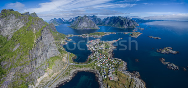 Reine from air panorama Stock photo © Harlekino