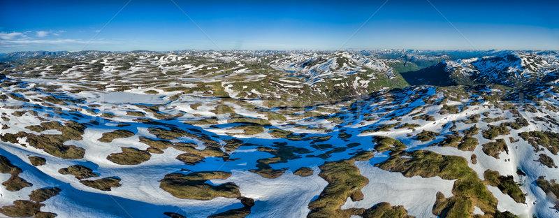 Noorwegen bergen panorama antenne noors zonnige Stockfoto © Harlekino