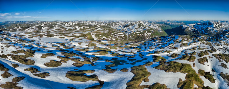 Noruega montanas panorama aéreo noruego soleado Foto stock © Harlekino