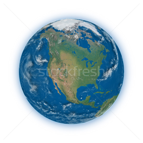 Norte américa planeta terra azul isolado branco Foto stock © Harlekino