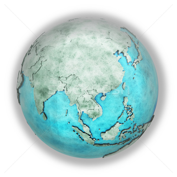 Southeast Asia on marble planet Earth Stock photo © Harlekino