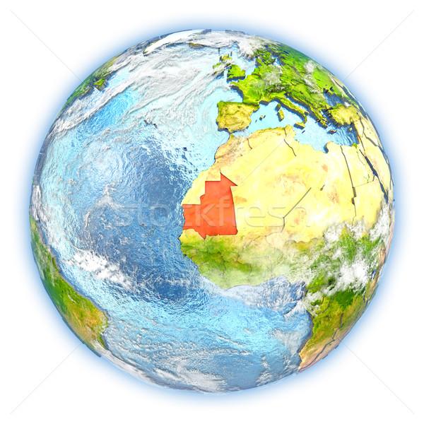 モーリタニア 地球 孤立した 赤 地球 3次元の図 ストックフォト © Harlekino