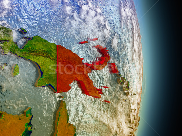 Papua New Guinea in red from space Stock photo © Harlekino