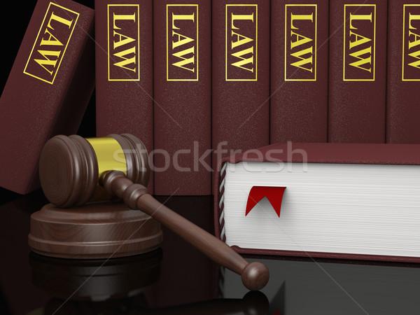 Yasal edebiyat tokmak hukuk kitaplar semboller Stok fotoğraf © Harlekino