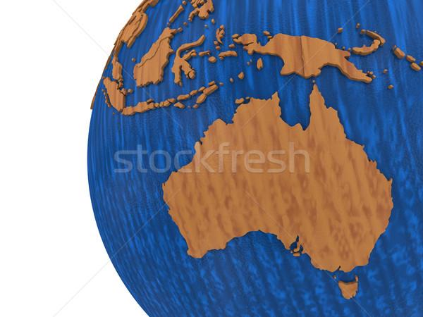 Australia on wooden Earth Stock photo © Harlekino