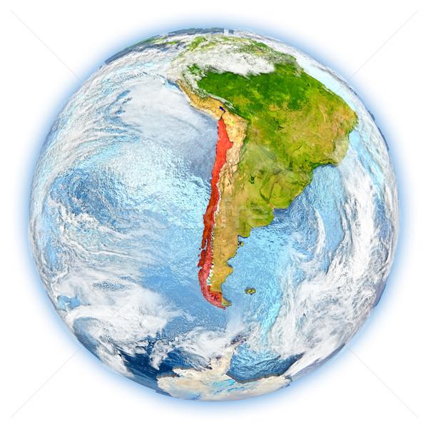 Chile Föld izolált piros Föld 3d illusztráció Stock fotó © Harlekino