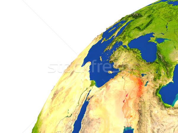País satélite ver vermelho espaço Foto stock © Harlekino