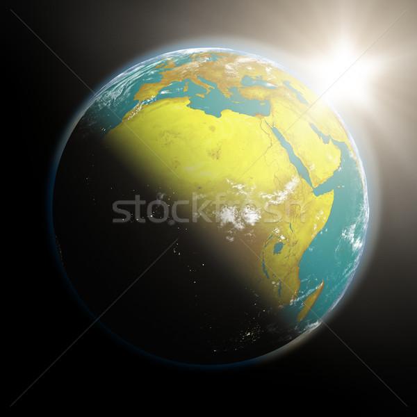 日の出 アフリカ スペース 表示 太陽 ストックフォト © Harlekino
