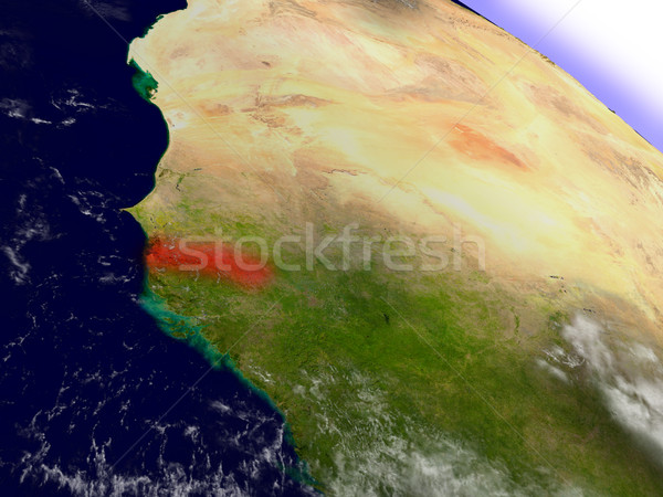 Gambia from space highlighted in red Stock photo © Harlekino