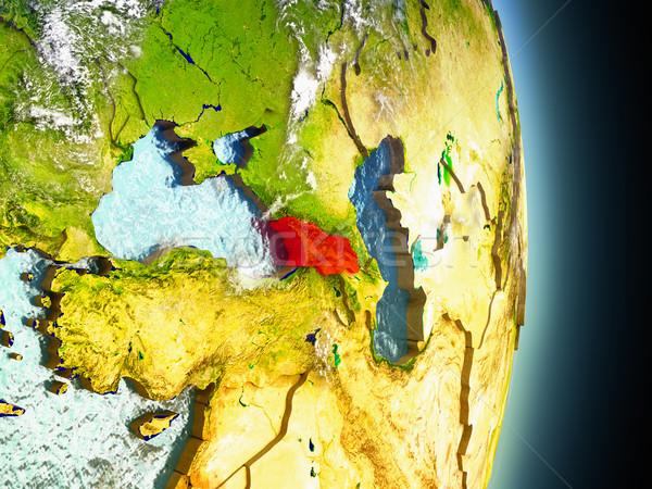 Georgia kırmızı uzay model yörünge 3d illustration Stok fotoğraf © Harlekino