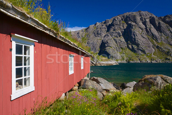 Fishing hut by fjord Stock photo © Harlekino