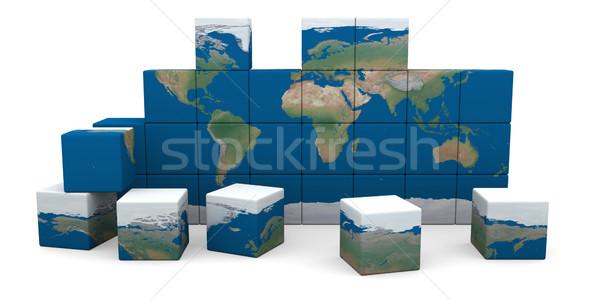 Мир падение отдельно Мир карта изолированный Сток-фото © Harlekino