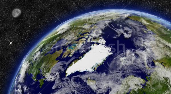 ártico região planeta terra espaço lua estrelas Foto stock © Harlekino