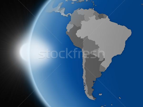 Gün batımı güney amerika kıta uzay dünya gezegeni siyasi Stok fotoğraf © Harlekino