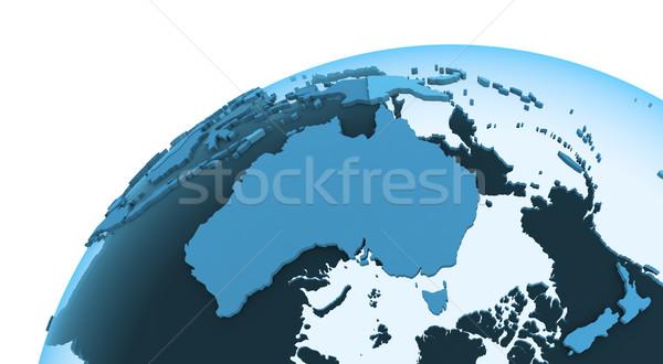 Australia on translucent Earth Stock photo © Harlekino