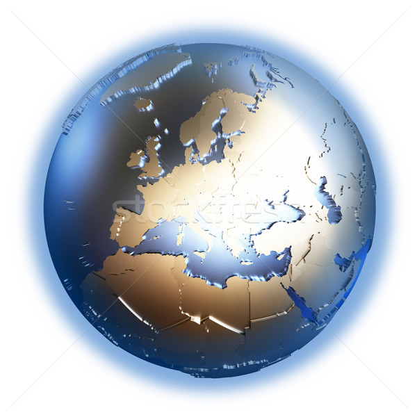 Europe on golden metallic Earth Stock photo © Harlekino