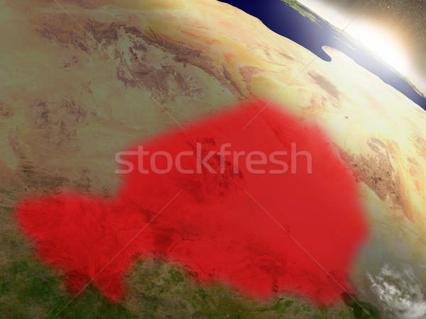 Niger from space highlighted in red Stock photo © Harlekino