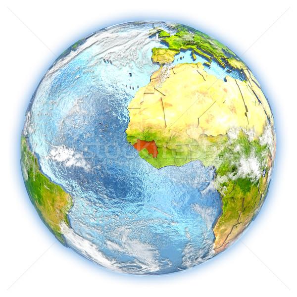 Guinea Föld izolált piros Föld 3d illusztráció Stock fotó © Harlekino