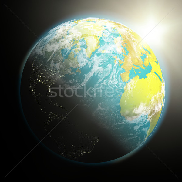 Sun rising over Earth Stock photo © Harlekino