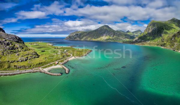 Stock fotó: Nyugalom · nyugalmas · kicsi · kikötő · szigetek · Norvégia