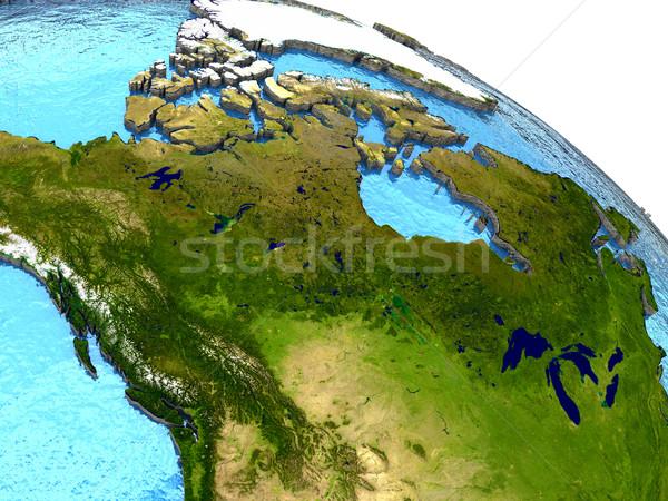 Canadá terra região detalhado modelo planeta terra Foto stock © Harlekino
