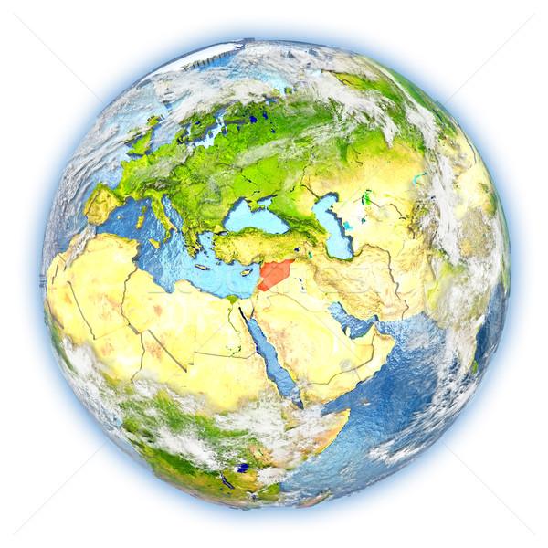 Síria terra isolado vermelho planeta terra ilustração 3d Foto stock © Harlekino