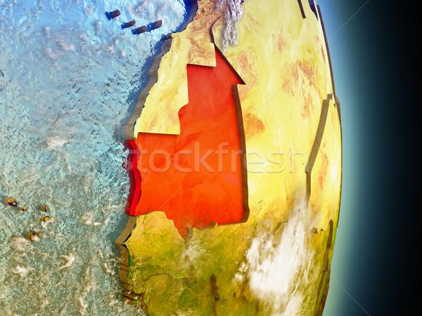 Moritanya kırmızı uzay model yörünge 3d illustration Stok fotoğraf © Harlekino