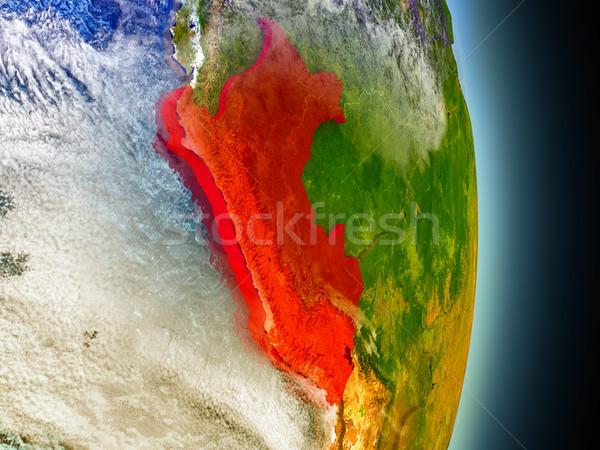 Peru Rood ruimte model 3d illustration Stockfoto © Harlekino