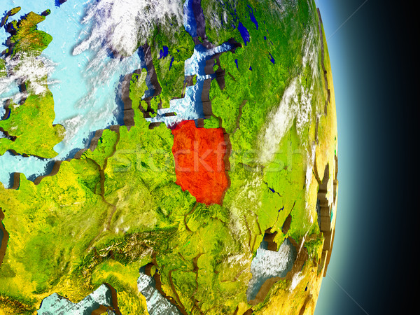 Polen Rood ruimte model 3d illustration Stockfoto © Harlekino