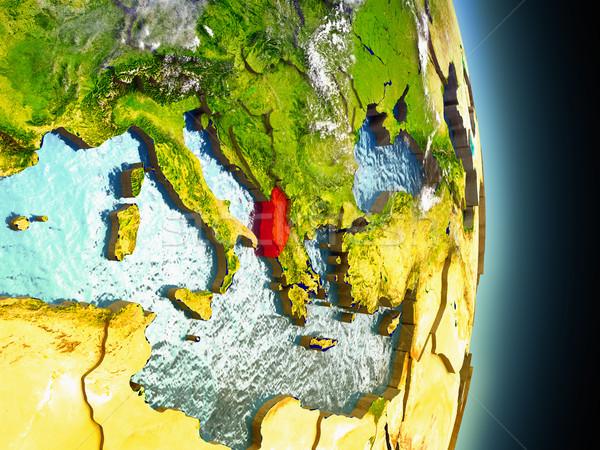 Albania in red from space Stock photo © Harlekino
