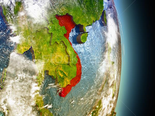 Vietnam in red from space Stock photo © Harlekino