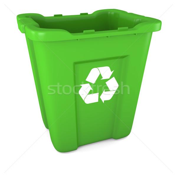 Green plastic recycle bin Stock photo © Harlekino