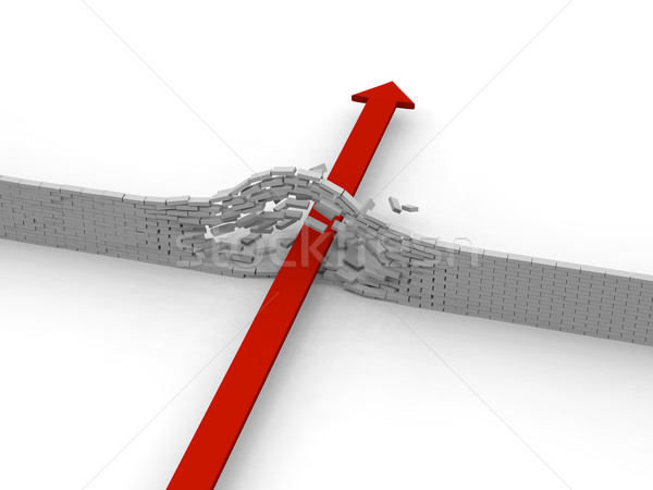 Arrow ściany czerwony murem sukces przełom Zdjęcia stock © Harlekino