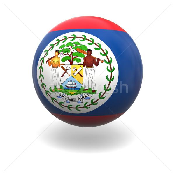Stock fotó: Zászló · Belize · gömb · izolált · fehér · grafika