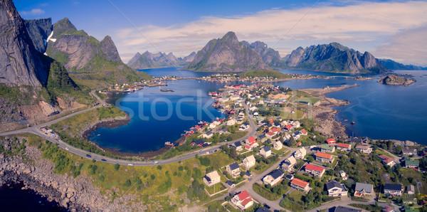 Сток-фото: антенна · Панорама · живописный · рыбалки · деревне