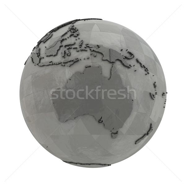 Australia on metallic planet Earth Stock photo © Harlekino