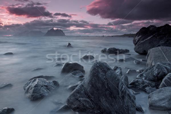 Gece yarısı güneş tipik ada Stok fotoğraf © Harlekino