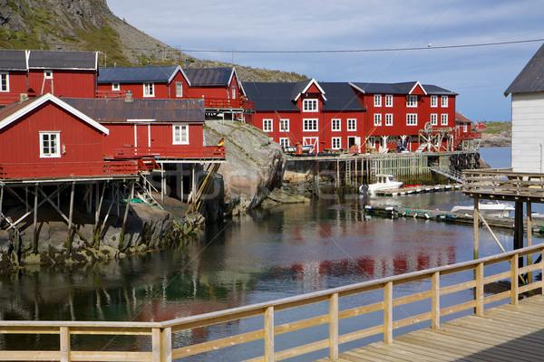Rood vissen pittoreske eilanden Noorwegen dorp Stockfoto © Harlekino