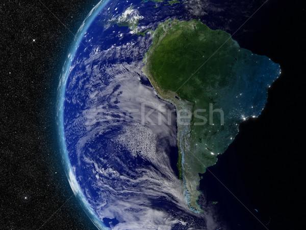 Güney amerika uzay elemanları görüntü bulutlar harita Stok fotoğraf © Harlekino