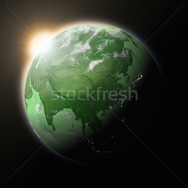 Stock photo: Sun over Southeast Asia on green planet Earth