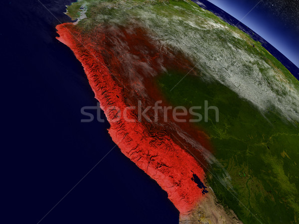 Peru ruimte Rood 3d illustration Stockfoto © Harlekino