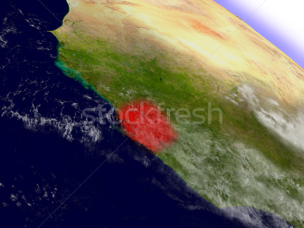 Stock photo: Sierra Leone from space highlighted in red