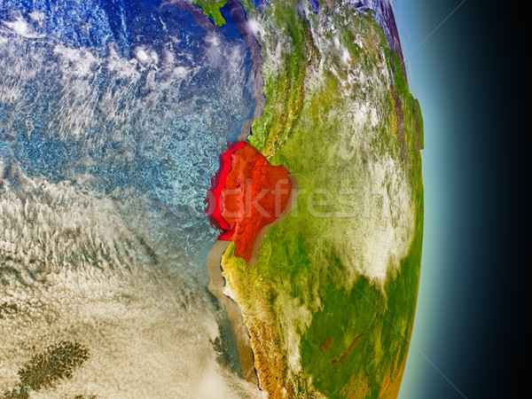 Ecuador Rood ruimte model 3d illustration Stockfoto © Harlekino