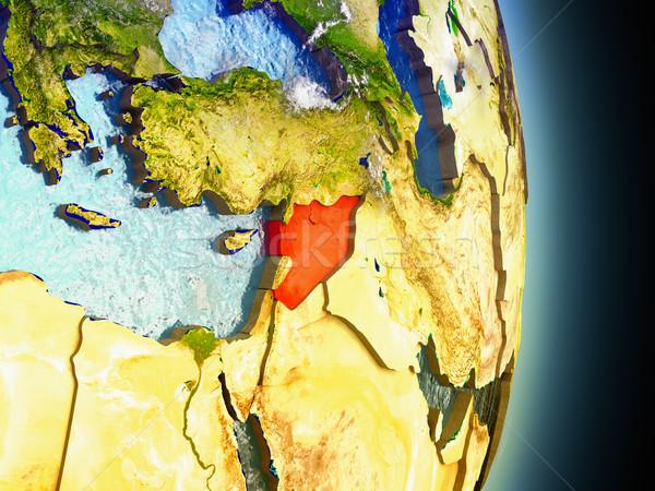 Foto stock: Síria · vermelho · espaço · modelo · ilustração · 3d