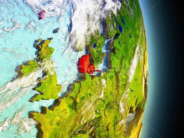 Denmark in red from space Stock photo © Harlekino