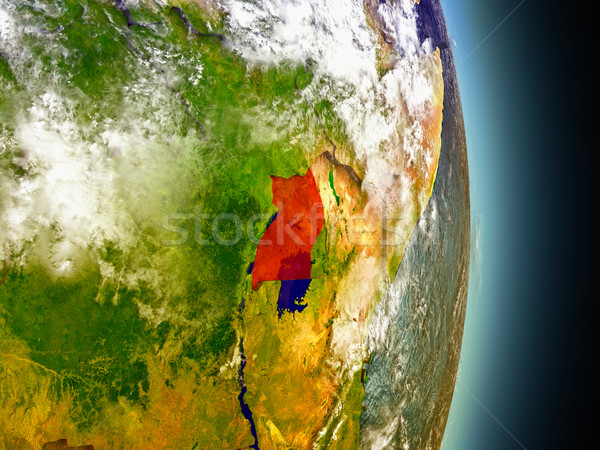 Уганда красный пространстве модель орбита 3d иллюстрации Сток-фото © Harlekino