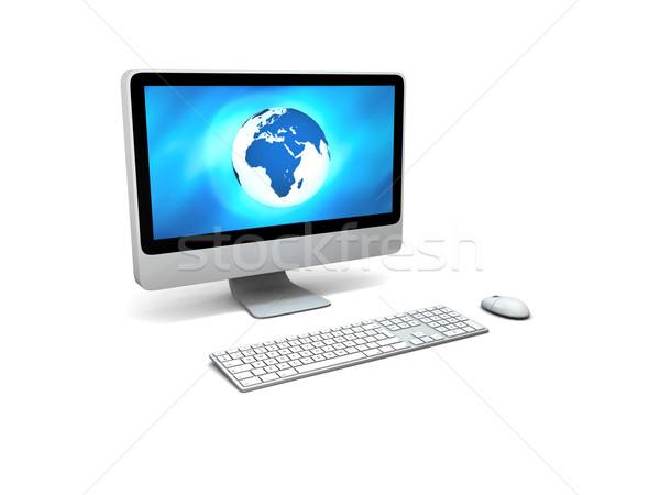 Global rede azul modelo terra Foto stock © Harlekino