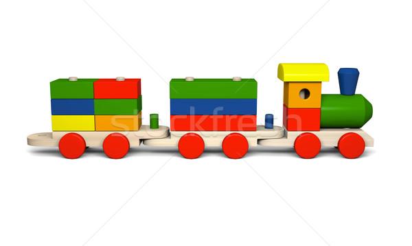 ストックフォト: 木製玩具 · 列車 · 3次元の図 · カラフル · 木材 · モデル