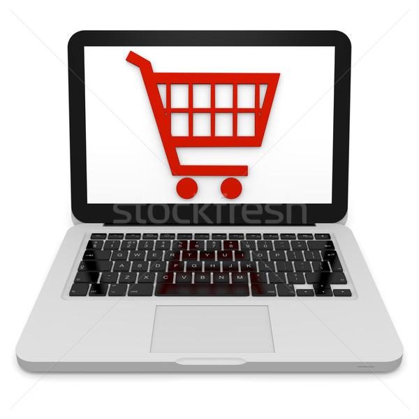 Compras on-line ilustração 3d carrinho de compras símbolo laptop computador Foto stock © Harlekino