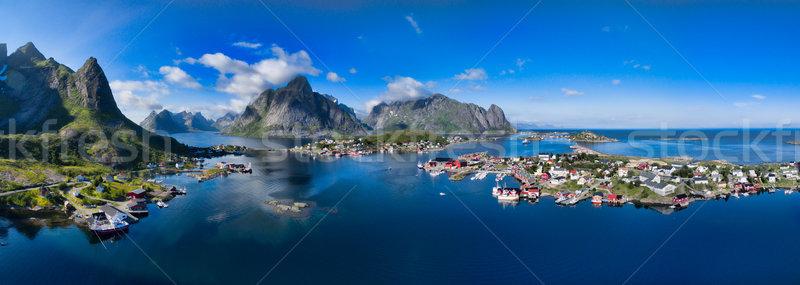 Сток-фото: живописный · Норвегия · антенна · Панорама · рыбалки · города
